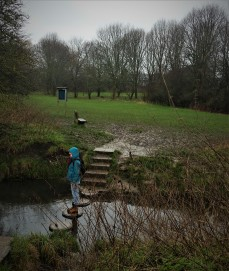 Lucy Sustrans 'in the river' at the Stepping Stones
